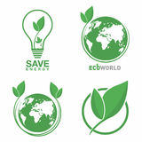 Ecology logo set. Eco world, green leaf, energy saving lamp symbol. Eco friendly concept for company logo. Vector Stock Images