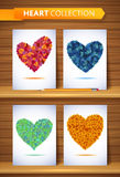 Ecology love leaf heart set. Nature rainbow leaves Stock Images