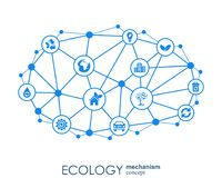 Ecology mechanism concept. Abstract background with connected gears and icons for eco friendly, energy, environment. Green, recycle, bio and global concepts Stock Illustration