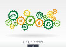 Ecology mechanism concept. Abstract background with connected gears and icons for eco friendly energy, environment Stock Photography
