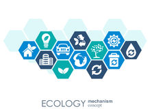 Ecology mechanism concept. Abstract background with connected gears and icons for eco friendly, energy, environment Royalty Free Stock Photo