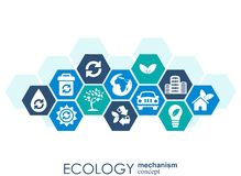 Ecology mechanism concept. Abstract background with connected gears and icons for eco friendly, energy, environment, green, recycl Royalty Free Stock Photography