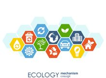 Ecology mechanism concept. Abstract background with connected gears and icons for eco friendly, energy, environment, green, recycl Stock Photos