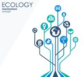 Ecology mechanism concept. Abstract background with connected gears and icons for eco friendly, energy, environment Stock Photo