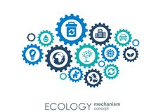 Ecology mechanism concept. Abstract background with connected gears and icons for eco friendly, energy, environment Stock Image