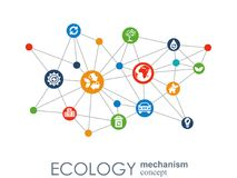 Ecology mechanism concept. Abstract background with connected gears and icons for eco friendly, energy, environment Royalty Free Stock Images