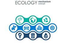 Ecology mechanism concept. Abstract background with connected gears and icons for eco friendly, energy, environment. Green, recycle, bio and global concepts Royalty Free Stock Image