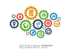 Ecology mechanism concept. Abstract background with connected gears and icons for eco friendly, energy, environment Stock Images