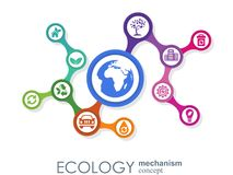 Ecology mechanism concept. Abstract background with connected gears and icons for eco friendly, energy, environment. Green, recycle, bio and global concepts Royalty Free Stock Photos