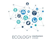 Ecology mechanism concept. Abstract background with connected gears and icons for eco friendly, energy, environment Stock Photos