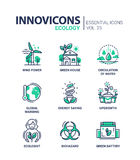Ecology - modern color vector single line icon set Royalty Free Stock Photography