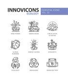 Ecology - modern color vector single line icon set stock illustration