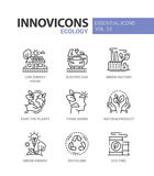 Ecology - modern color vector single line icons set Royalty Free Stock Image