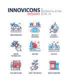 Ecology - modern color vector single line icons set Stock Image