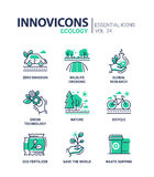 Ecology - modern color vector single line icons set Royalty Free Stock Images