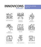 Ecology - modern color vector single line icons set stock illustration