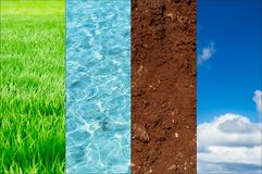 Ecology of nature banner concept. Green plant blue water fertile soil and clean air ozone Stock Photo