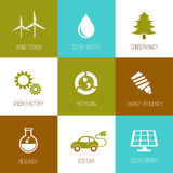 Ecology and nature conservation icons flat designed Stock Photography