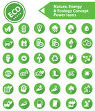 Ecology,Nature & Energy icons,Green version. Ecology,Nature & Energy icons,Green version Stock Image