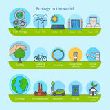 Ecology and nature flat line icons Stock Image