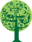 Ecology and Nature Tree. Green tree illustration of ecology of man and the world of nature. Tree of life vector illustration