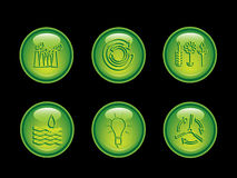 Ecology neon button series stock illustration