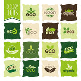 Ecology, organic icon set. Eco-icons Stock Images