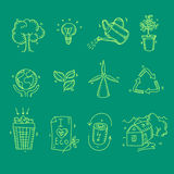 Ecology organic icons eco and bio elements in hand Stock Photography
