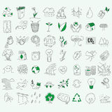 Ecology organic signs eco and bio elements in hand Stock Photography
