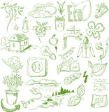 Ecology organic signs eco and bio elements in hand Stock Photo