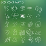Ecology organic signs eco and bio elements in hand Royalty Free Stock Images