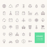 Ecology Outline Icons Stock Photo
