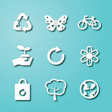 Ecology paper art icons. Vector elements design Stock Images