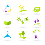 Ecology & people nature friendly BIO icons set Stock Image