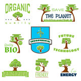 Ecology 100 percent natural stickers logos Stock Images