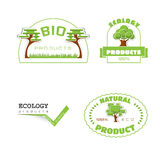 Ecology 100 percent natural stickers logos Stock Photography