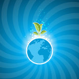 Ecology. Planet Earth and Leaves as Symbolism Ecology Stock Images