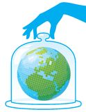Ecology. Planet Earth is under a protective cap. Vector illustration Vector Illustration
