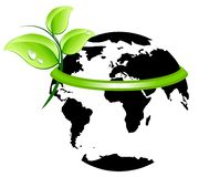 Ecology planet icon. Earth wearing a green band with fresh leaves Stock Photo