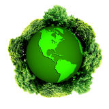 Ecology planet with with trees around. eco earth. Eco globe. Eco planet Stock Photo