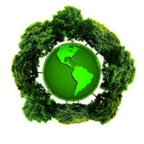 Ecology planet with with trees around. eco earth. Small eco planet with tree and roots on it. Green Earth concept. (Elements of this 3d rendered image furnished Stock Image