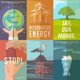 Ecology posters. Set of ecology posters on the themes of save the world, alternative energy, ecolife, save nature, stop pollutions, oil spil, save the arctic vector illustration