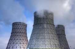 Ecology of power. Ecology (The heat station or nuclear power Stock Images