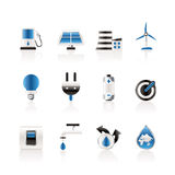 Ecology, power and energy icons Royalty Free Stock Images