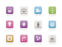 Ecology, power and energy icons Royalty Free Stock Photo
