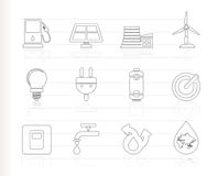 Ecology, power and energy icons. Icon set Royalty Free Stock Images