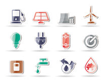 Ecology, power and energy icons Stock Image