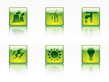 Ecology,power and energy icons Royalty Free Stock Images
