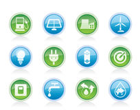 Ecology, power and energy icons. Vector icon set Stock Photos