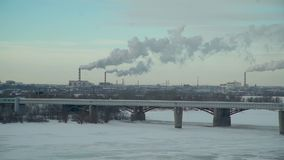 Plants Polluting the Atmosphere of City in Winter. Ecology Problems in Big City. Lots of Plants Polluting the Atmosphere in Winter Time stock video